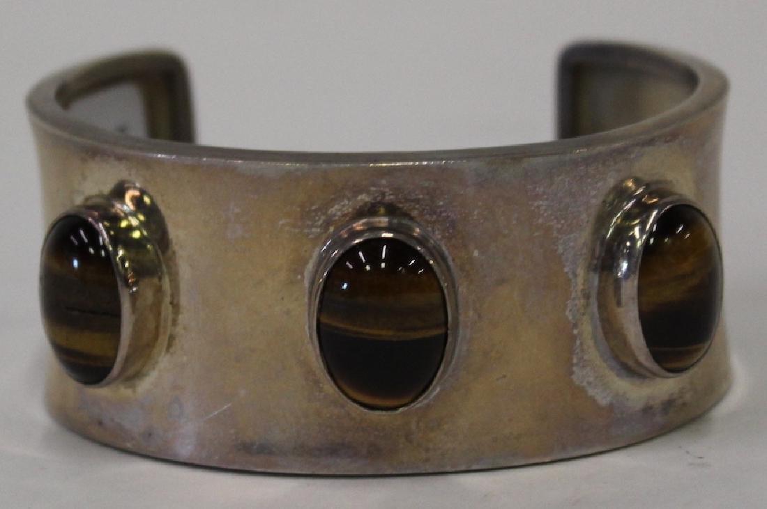 Mexican Silver & Tiger Eye Cuff Bracelet - 3