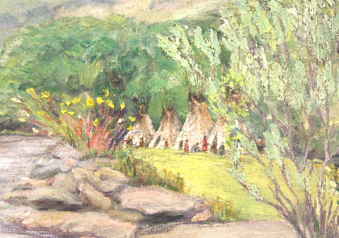 Joseph Henry Sharp. Oil. Indian Encampment - 3