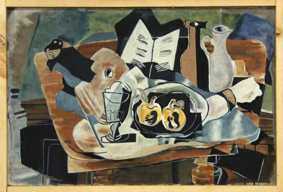 20thC. French Modernist Oil - Cubist Still Life