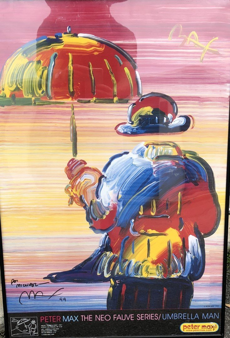 Peter Max; Framed Umbrella Man Poster