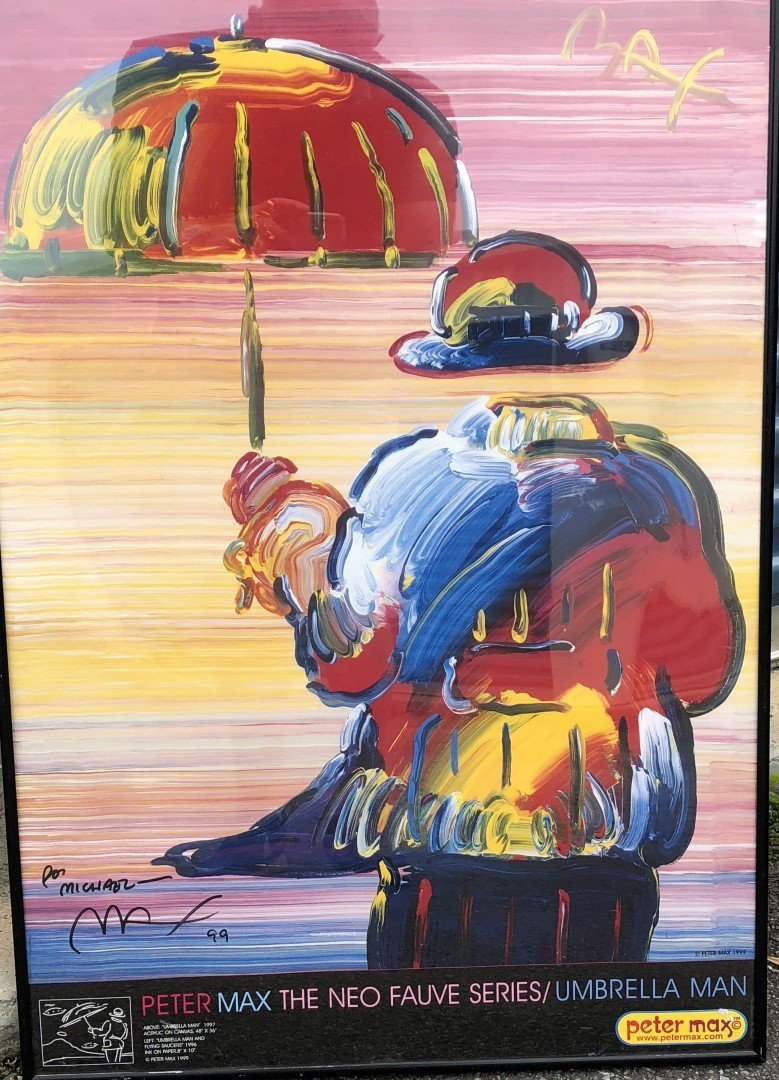 Peter Max; Framed Umbrella Man Poster - 2