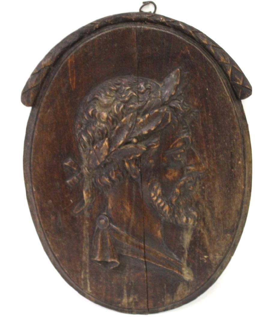 Carved Wooden Plaque. Classical Bas Relief Image