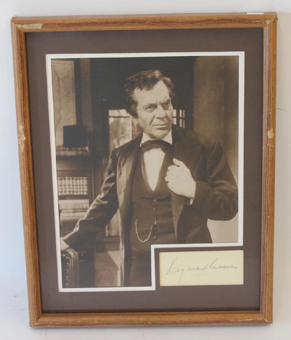 Raymond Massey Photograph with Cut Signature