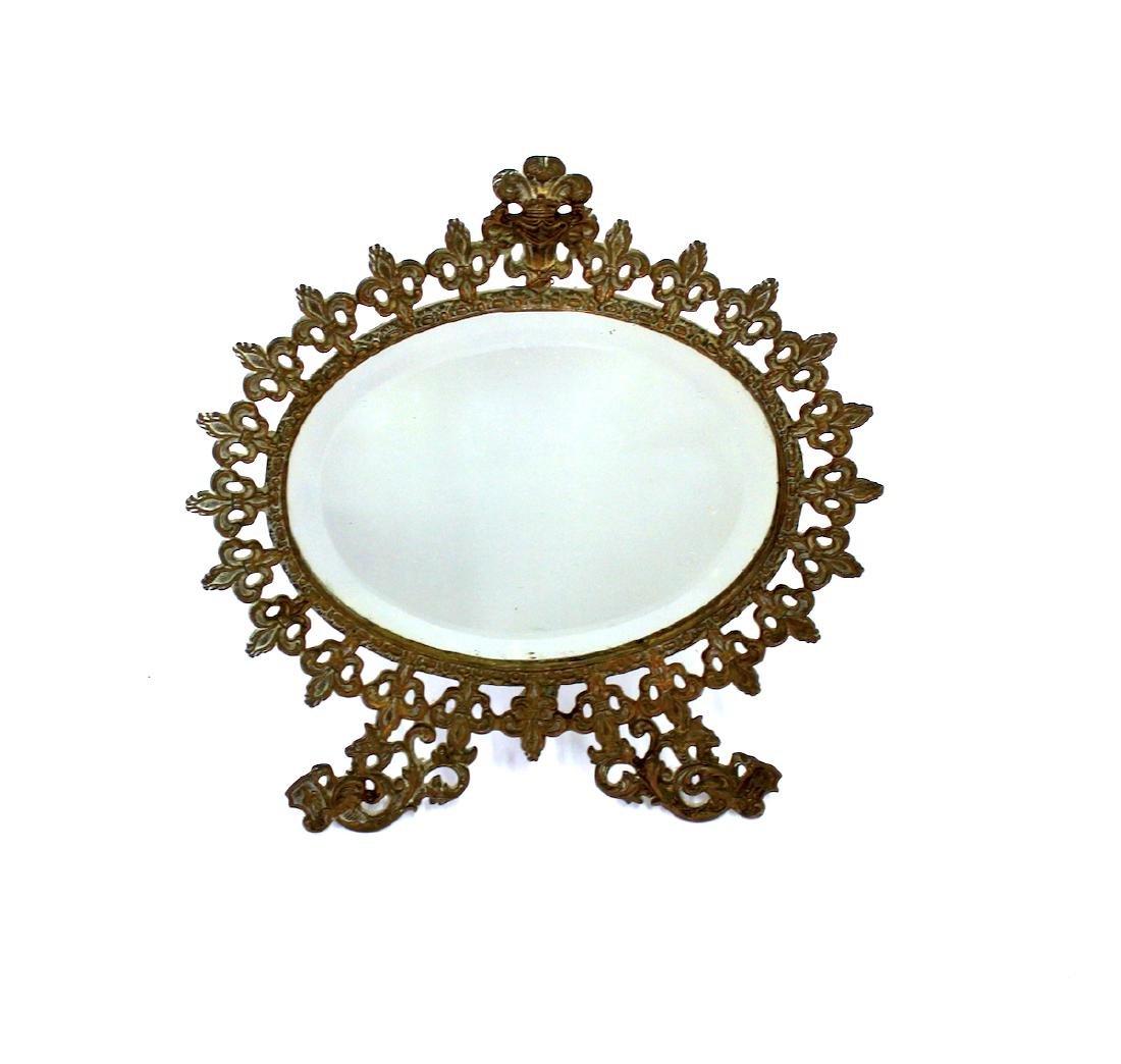 Fancy Victorian Brass Openwork Mirror