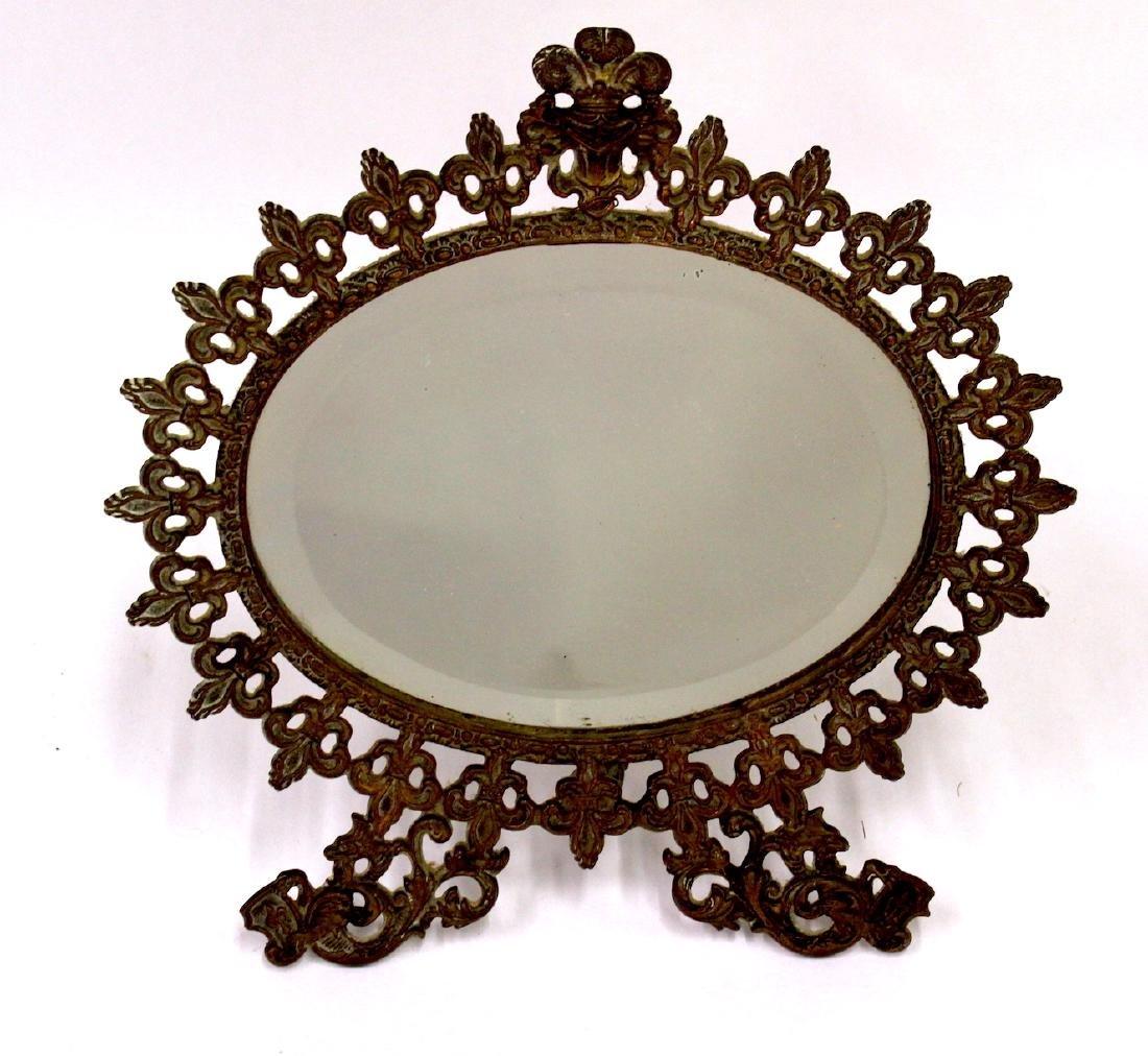 Fancy Victorian Brass Openwork Mirror - 2