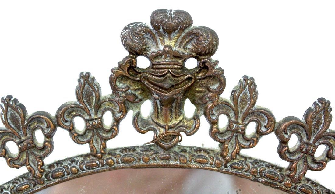 Fancy Victorian Brass Openwork Mirror - 3