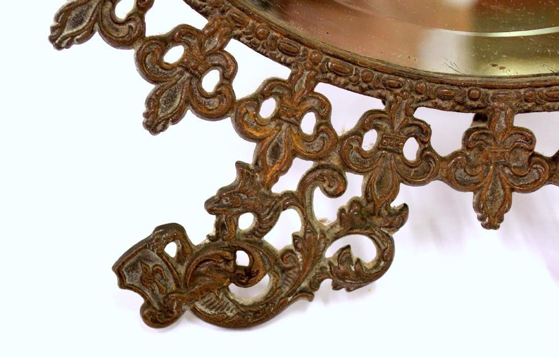 Fancy Victorian Brass Openwork Mirror - 4