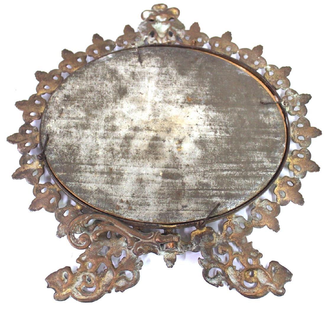 Fancy Victorian Brass Openwork Mirror - 5