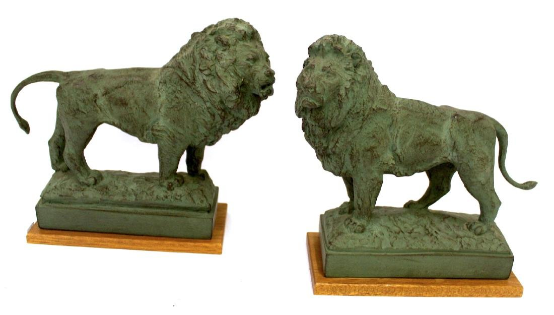 Pr. Bronze Lion Figural Bookends Sgd.