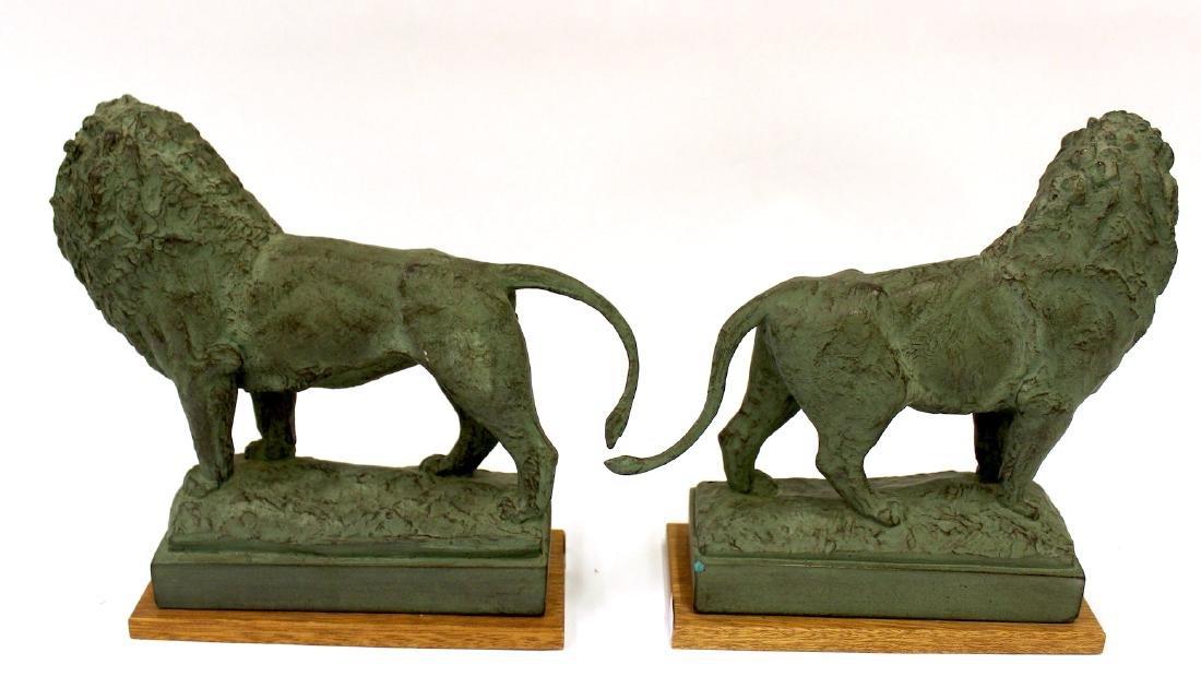 Pr. Bronze Lion Figural Bookends Sgd. - 2