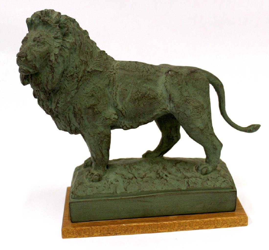 Pr. Bronze Lion Figural Bookends Sgd. - 3