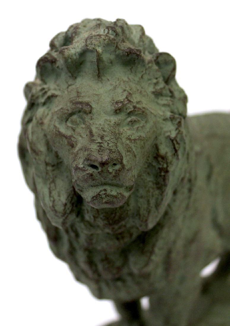 Pr. Bronze Lion Figural Bookends Sgd. - 4