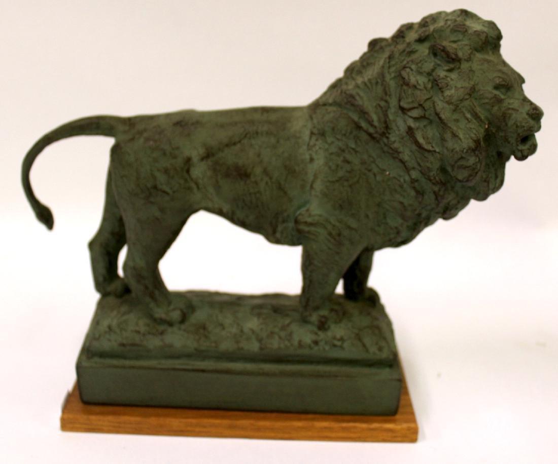 Pr. Bronze Lion Figural Bookends Sgd. - 6