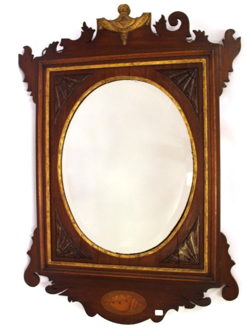Victorian Walnut and Gilt Decorated Mirror