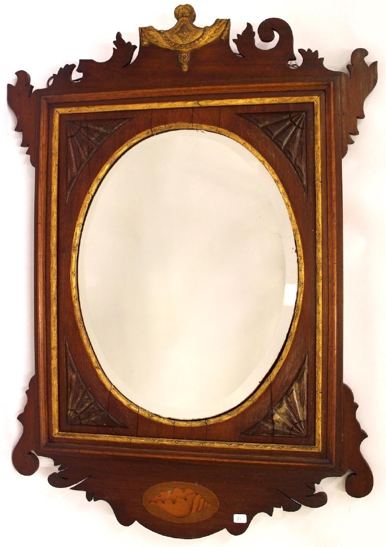 Victorian Walnut and Gilt Decorated Mirror - 2