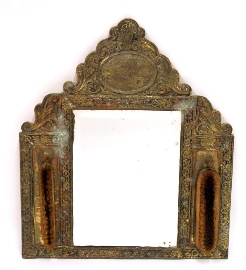 Victorian Gentleman's Brass Mirror