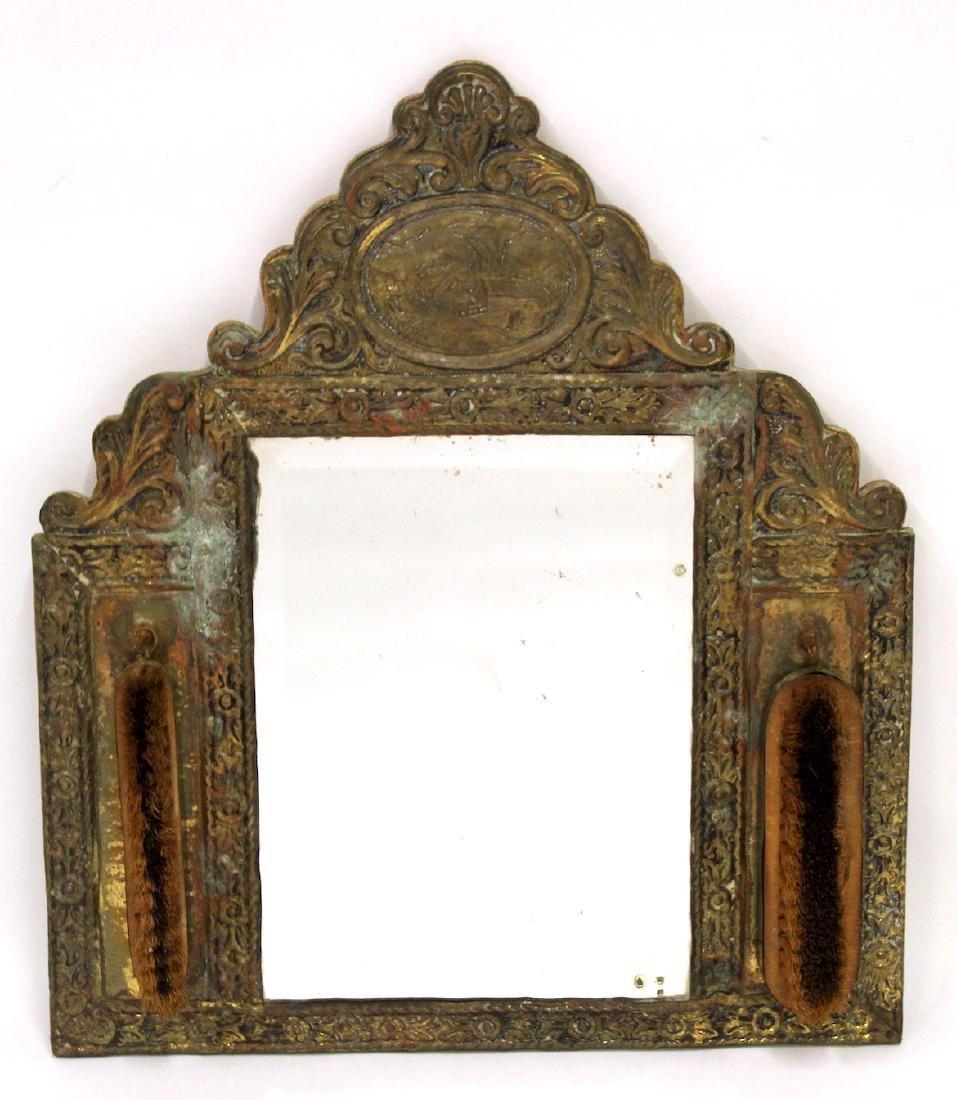 Victorian Gentleman's Brass Mirror - 2