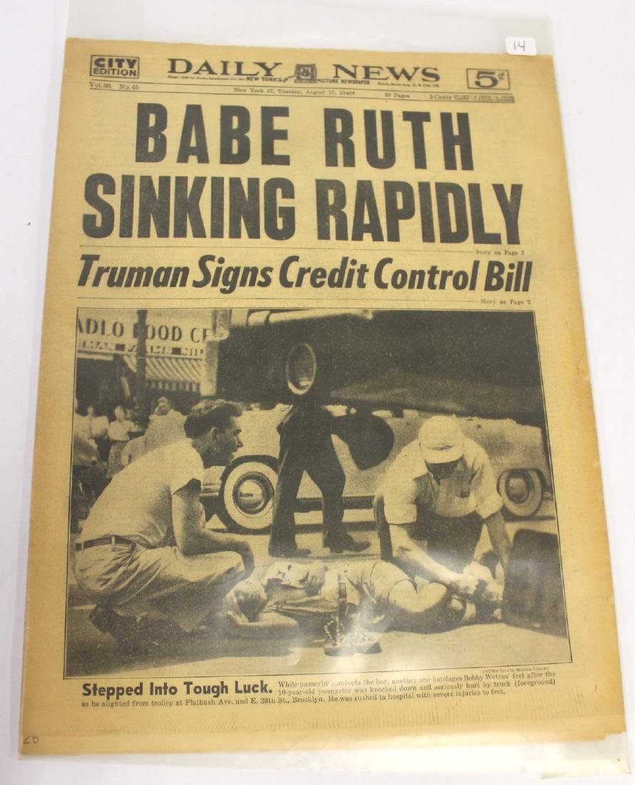 Daily News. Aug. 17th '48. Babe Ruth Sinking Rapidly.