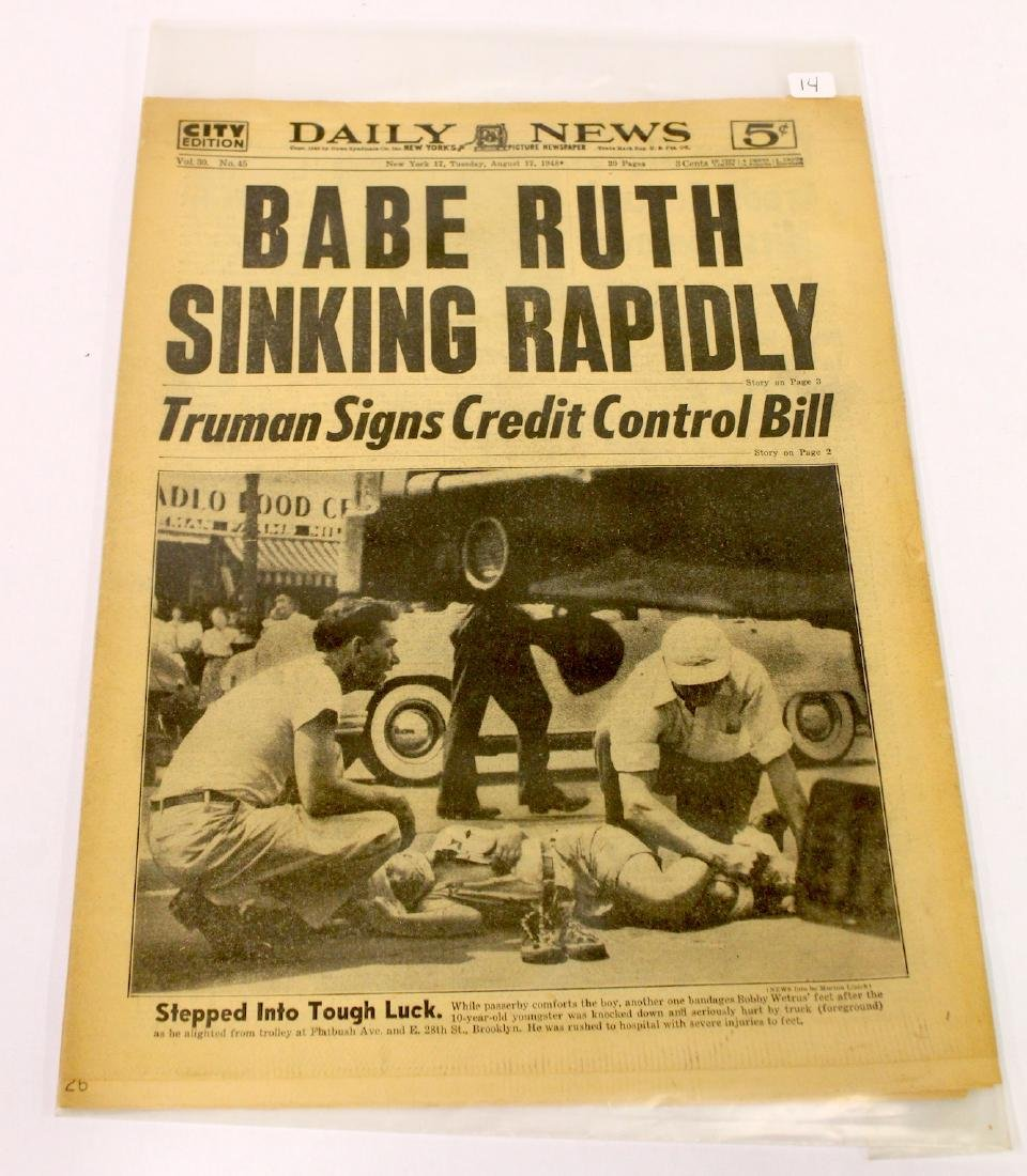Daily News. Aug. 17th '48. Babe Ruth Sinking Rapidly. - 2