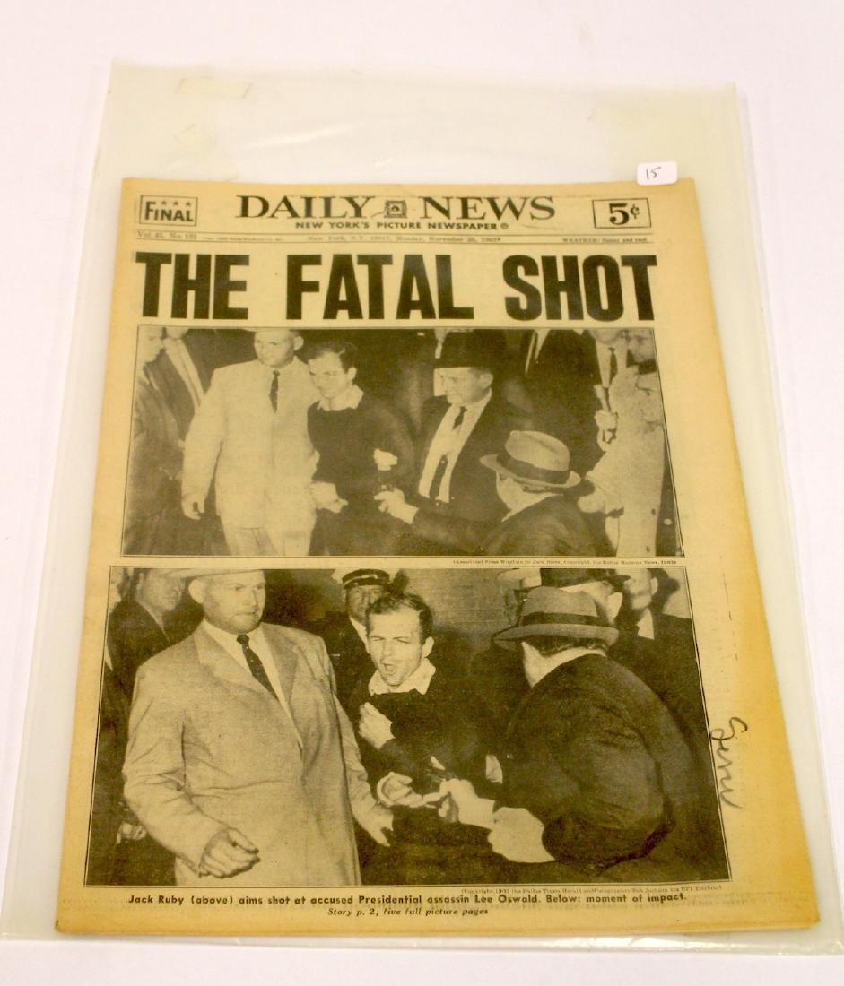 Daily News. Nov. 25th '63. Fatal Shot. Oswald Shooting.
