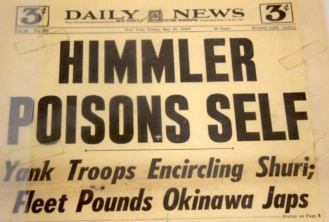 Daily News. May 25, 1945. Himmler Poisons Self.