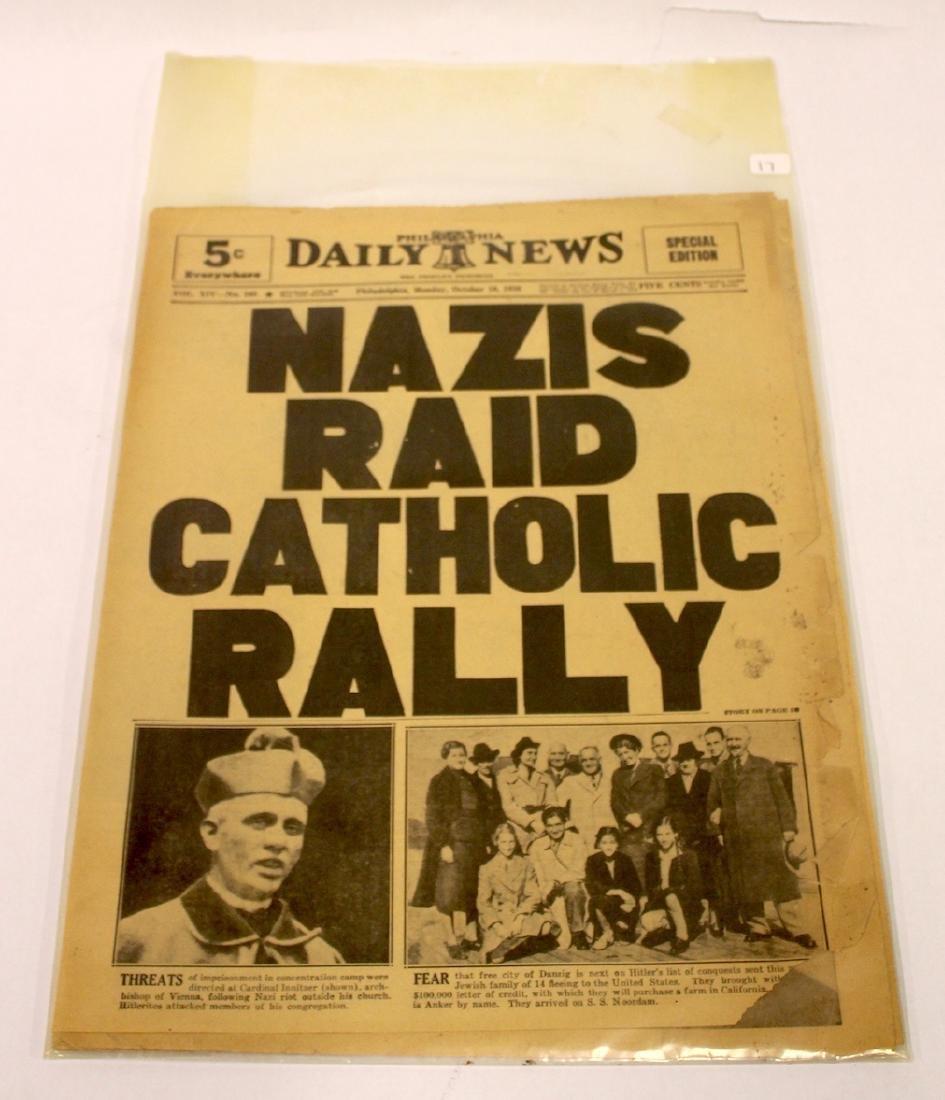 Phil. Daily News. Oct. 10, 1938. Nazis Raid Catholic