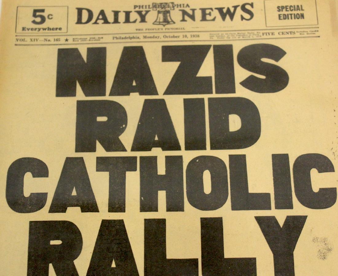 Phil. Daily News. Oct. 10, 1938. Nazis Raid Catholic - 2