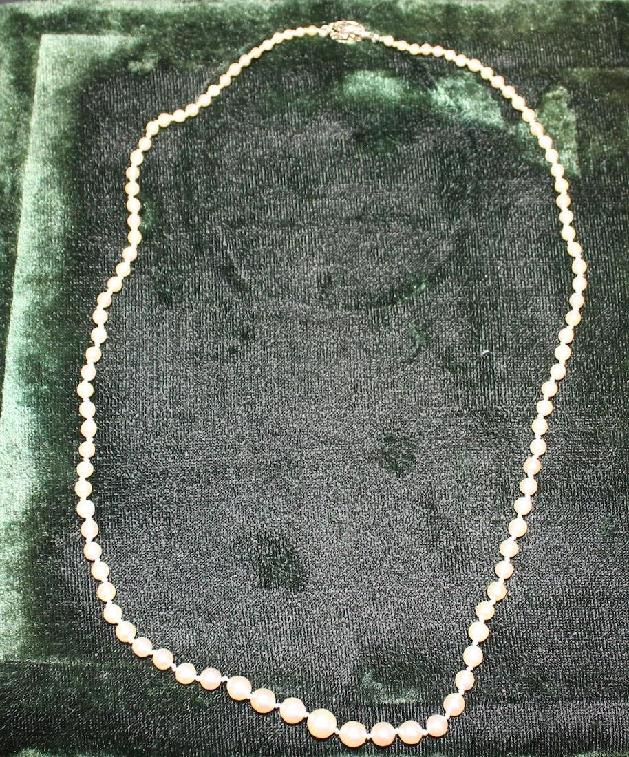 Vintage Cultured Pearl Necklace with 14K Gold Clasp