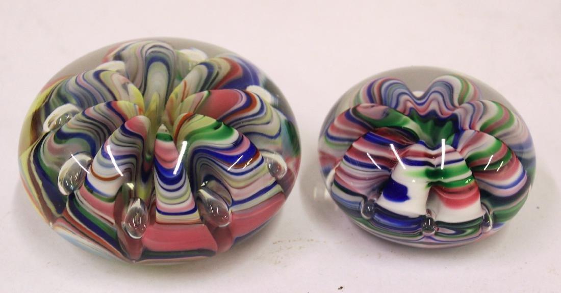 Artist Signed Art Glass Paperweights. (2)