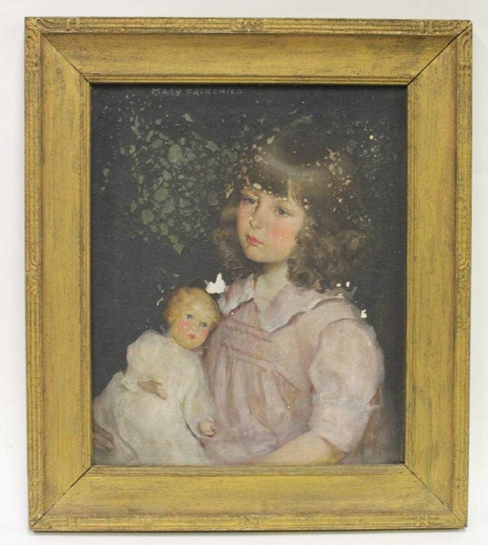 Mary Fairchild Low. . Oil. Girl with Doll. Signed