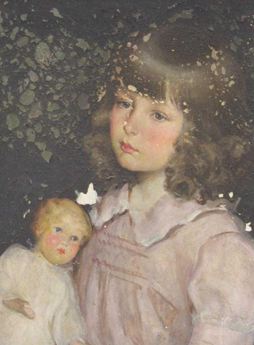 Mary Fairchild Low. . Oil. Girl with Doll. Signed - 2