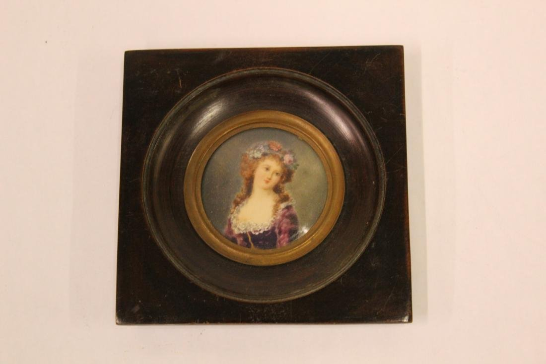 French.Watercolor  Miniature . Young Woman