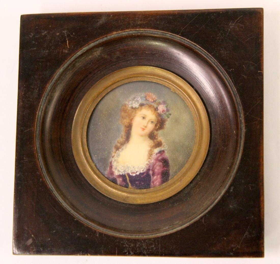 French.Watercolor  Miniature . Young Woman - 2