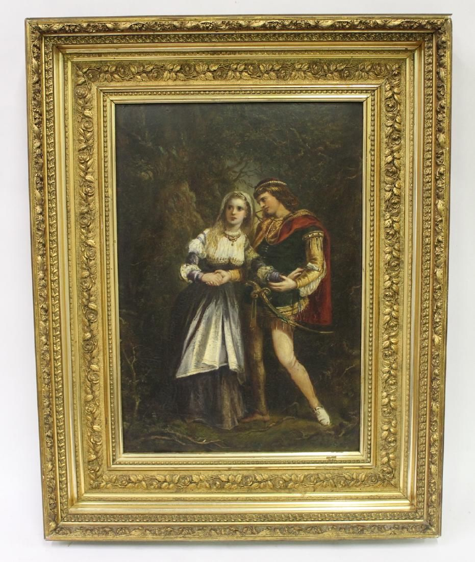 19th C. Oil. Classical Couple. Sgd.