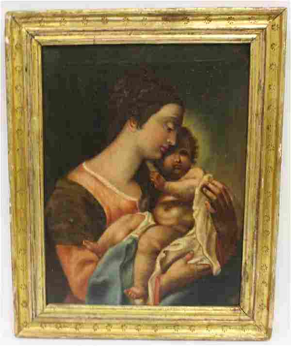 19th C. Italian Oil. Mother and Child