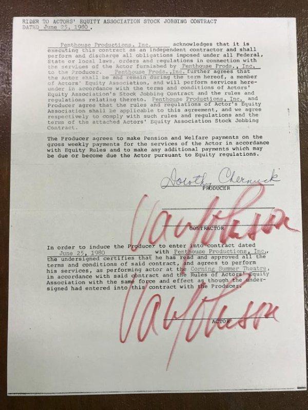 Van Johnson Contract Rider. Signed
