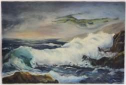 Robert Wood. Oil. Misty Isle. Signed