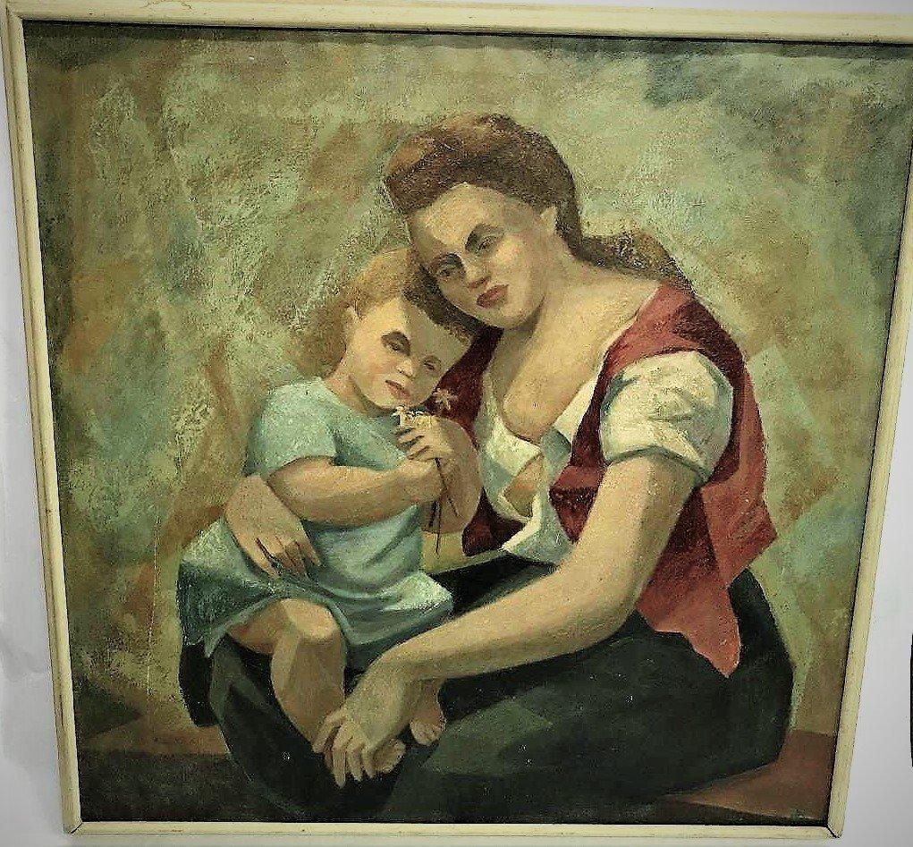 Adam Wasicki. Oil. Mother & Child. Honoring Picasso