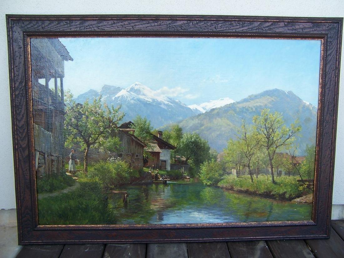 August Fischer ((1854-1921). Dutch.  Oil. Interlaken