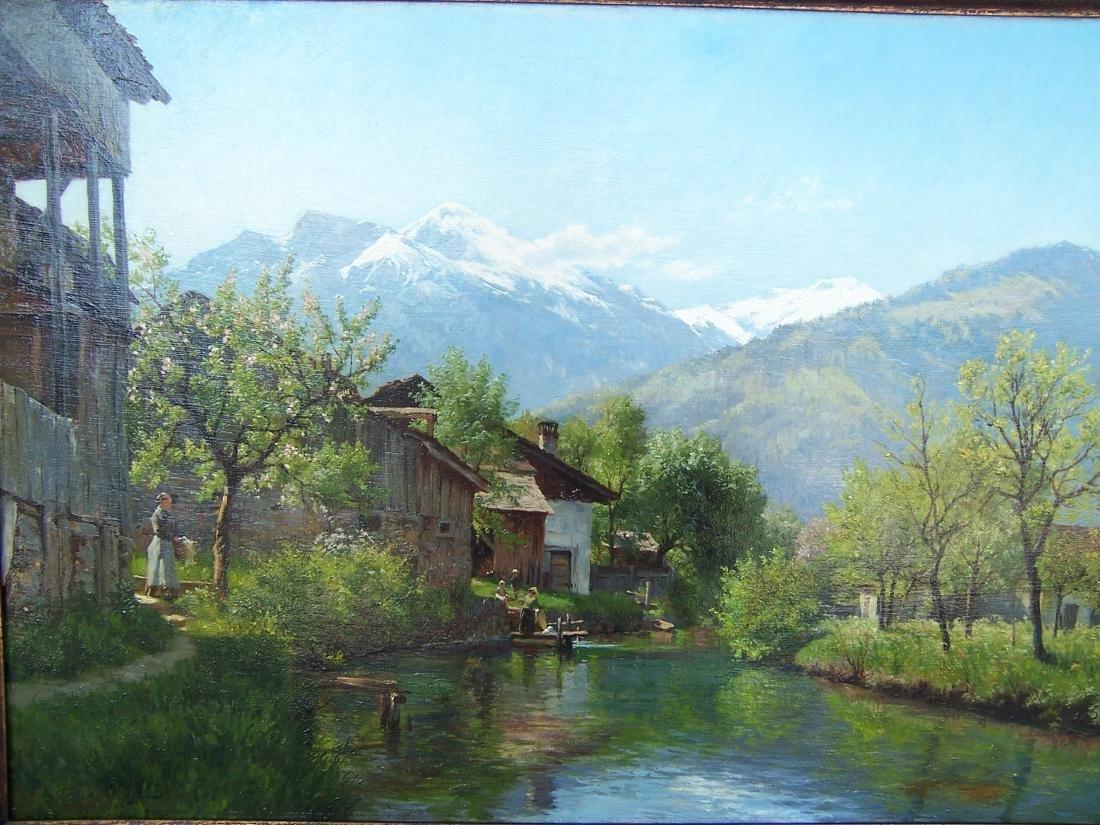 August Fischer ((1854-1921). Dutch.  Oil. Interlaken - 5