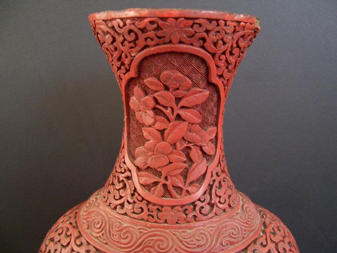 18th-19th C. Carved Chinese Cinnabar Vase. - 2