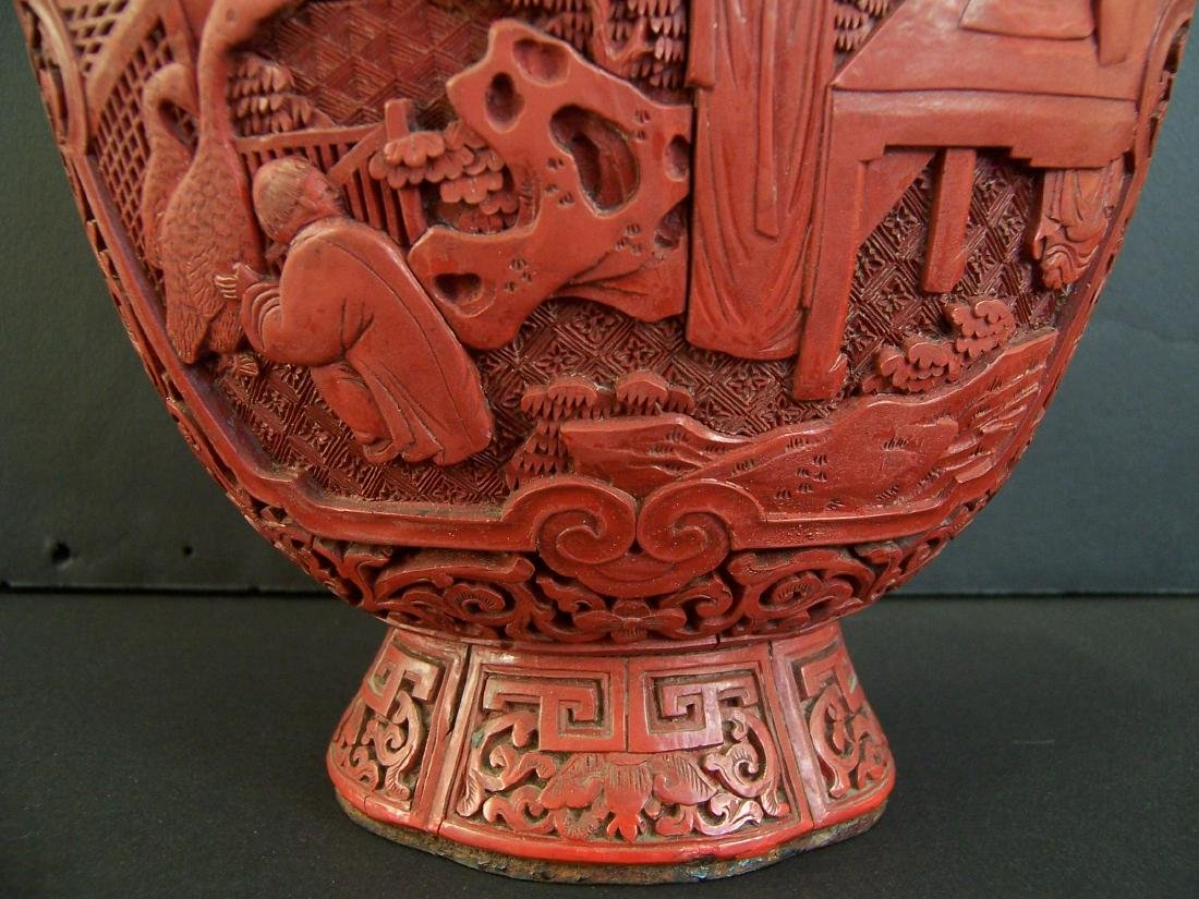 18th-19th C. Carved Chinese Cinnabar Vase. - 3