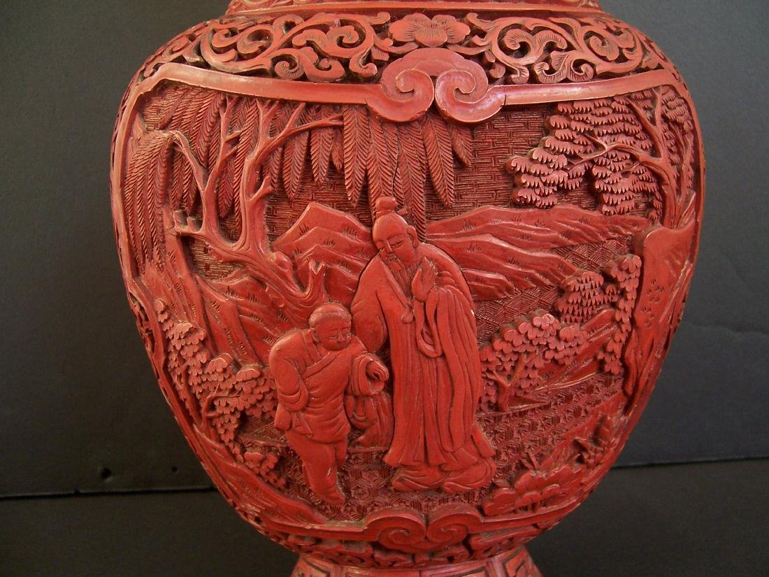 18th-19th C. Carved Chinese Cinnabar Vase. - 7
