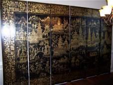 19th C. Export Eight Panel Screen. Prov. Sothebys
