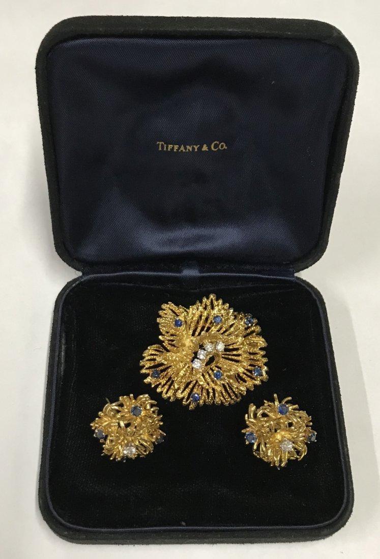 Tiffany & Co. 18K Brooch and Earrings.