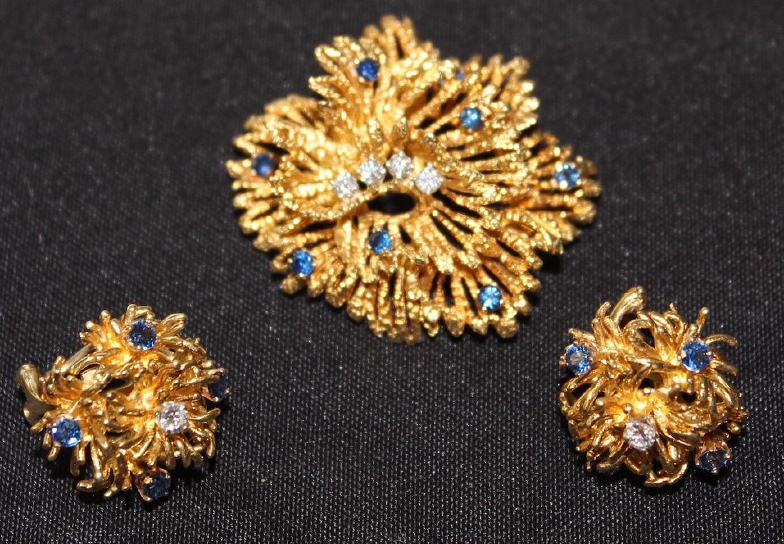 Tiffany & Co. 18K Brooch and Earrings. - 2