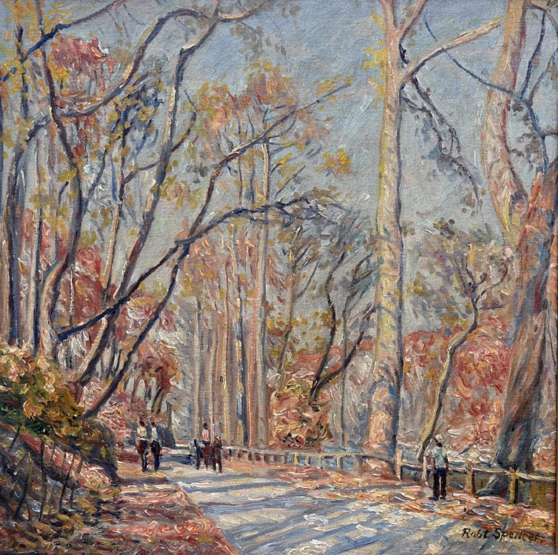 Robert Spencer; American Oil - Path in Central Park - 2