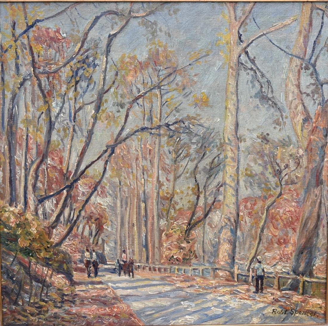 Robert Spencer; American Oil - Path in Central Park - 3