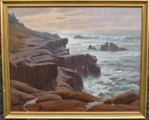 Ivan Kelly 20thC American Oil  Morning Surf Signed