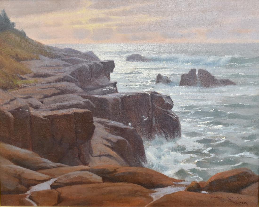 Ivan Kelly; 20thC. American Oil - Morning Surf Signed - 2